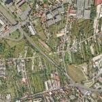 Photo aérienne des murs à p^ches